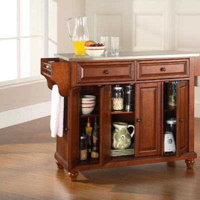 Hanoverton Kitchen Island with Stainless Steel Top Base Finish: Classic Cherry, Top Finish: Stainless Steel