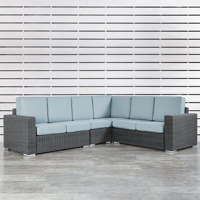 Rathdowney Sectional with Cushions Fabric: Spa Blue, Finish: Charcoal