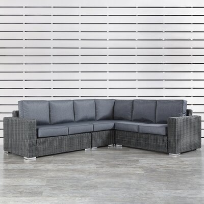 Rathdowney Sectional with Cushions Fabric: Gray, Finish: Mocha