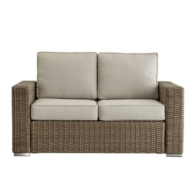 Rathdowney Loveseat with Cushions Fabric: Spa Blue, Finish: Charcoal
