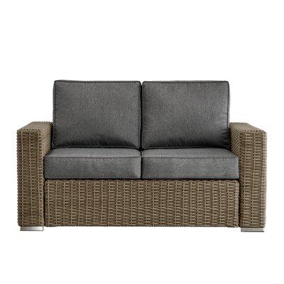 Rathdowney Loveseat with Cushions Fabric: Gray, Finish: Mocha