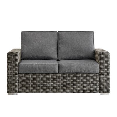 Rathdowney Loveseat with Cushions Fabric: Gray, Finish: Charcoal