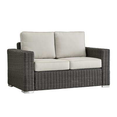 Rathdowney Loveseat with Cushions Fabric: Red, Finish: Mocha