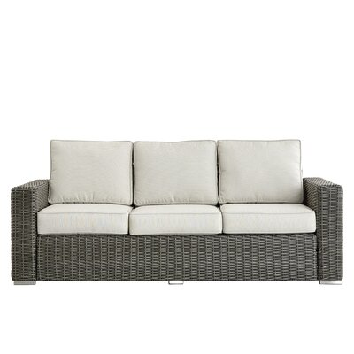 Rathdowney Sofa with Cushions Fabric: Spa Blue, Finish: Mocha