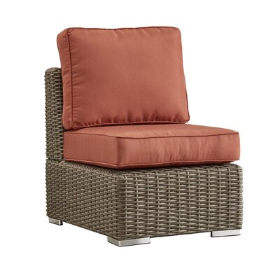 Rathdowney Chair with Cushions Fabric: Red, Finish: Mocha