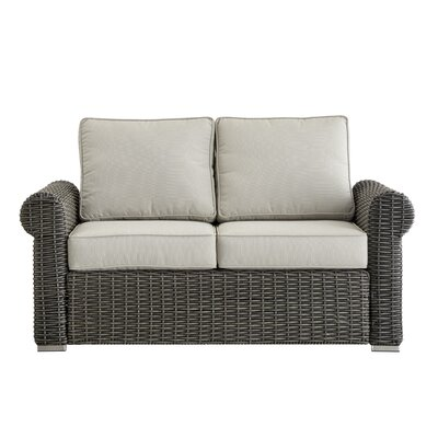 Rathdowney Loveseat with Cushions Fabric: Red, Finish: Charcoal