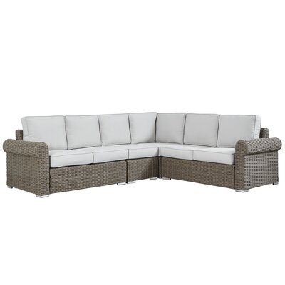 Rathdowney Sectional with Cushions Fabric: Beige, Finish: Charcoal