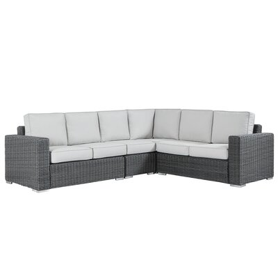 Rathdowney Sectional with Cushions Fabric: Beige, Finish: Mocha