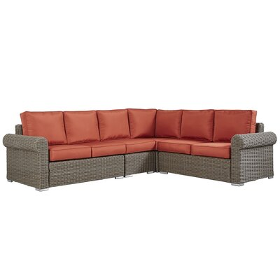 Rathdowney Sectional with Cushions Fabric: Red, Finish: Mocha