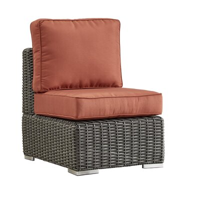 Rathdowney Chair with Cushions Fabric: Red, Finish: Charcoal