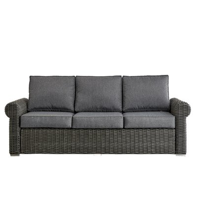 Rathdowney Sofa with Cushions Fabric: Spa Blue, Finish: Charcoal