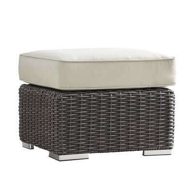 Rathdowney Ottoman with Cushion Fabric: Spa Blue, Finish: Charcoal