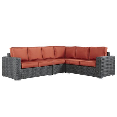 Rathdowney Sectional with Cushions Fabric: Red, Finish: Charcoal