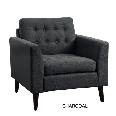 Alderbrook Tufted Arm Chair Upholstery: Charcoal