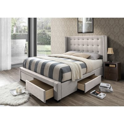 Thousand Oaks Savoy Storage Wingback Panel Bed Size: Queen, Color: Beige