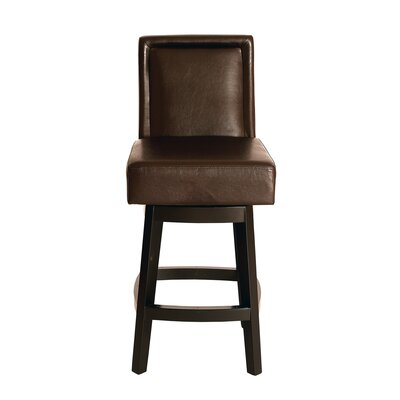 Pompton 26 Swivel Bar Stool Upholstery: Brown