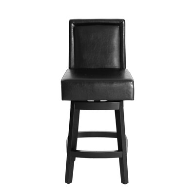 Pompton 30 Swivel Bar Stool Upholstery: Black