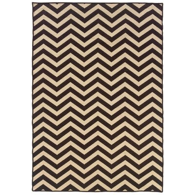 Peake Traditional Hand-Tufted Brown/Beige Chevron Area Rug Rug Size: 5 x 8