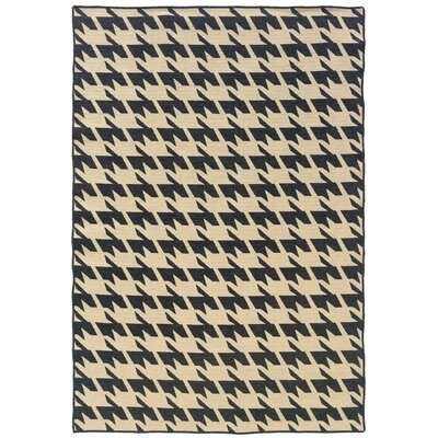 Destinee Hand-Tufted Black/Beige Area Rug Rug Size: 5 x 8