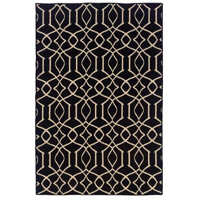 Hand-Tufted Black/Natural Area Rug Rug Size: 5 x 8