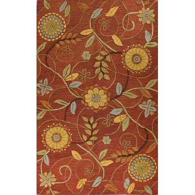 Ridley Hand-Tufted Rust Area Rug Rug Size: 86 x 116