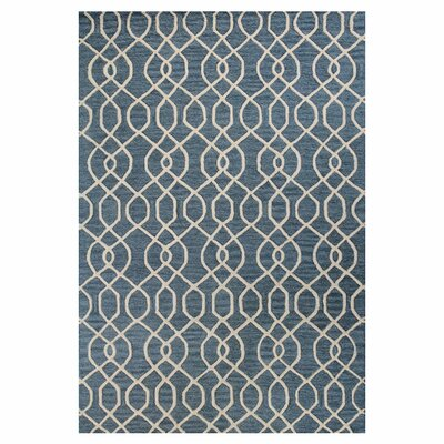 Russett Hand-Tufted Teal Area Rug Rug Size: 36 x 56