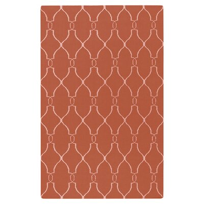 Lennox Hand-Woven Coral/Ivory Area Rug Rug Size: 2 x 3