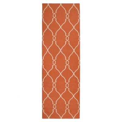 Lennox Hand-Woven Coral/Ivory Area Rug Rug Size: Runner 26 x 8
