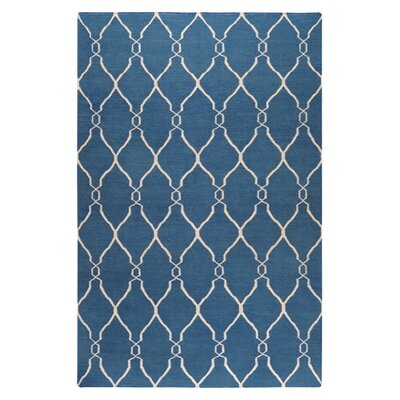 Findley Hand-Woven Blue/Ivory Area Rug Rug Size: Rectangle 5 x 8