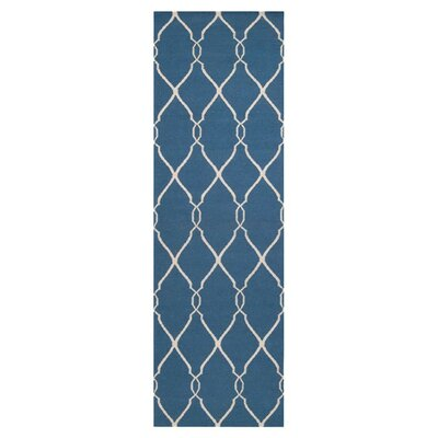 Findley Hand-Woven Blue/Ivory Area Rug Rug Size: Runner 26 x 8