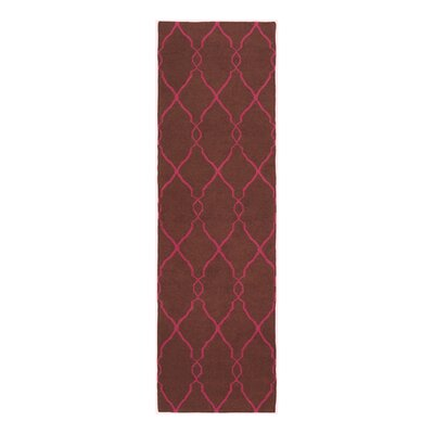 Findley Hand-Woven Chocolate/Fuchsia Area Rug Rug Size: Runner 26 x 8