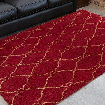 Findley Brick/Gold Area Rug Rug Size: Rectangle 9 x 13