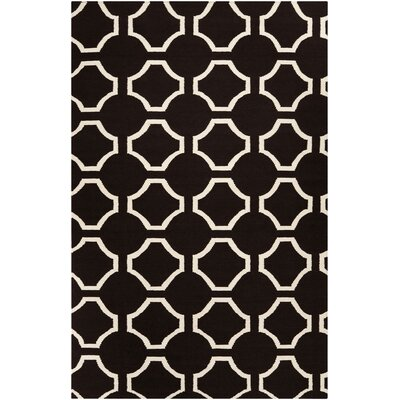Lennox Hand-Woven Black Area Rug Rug Size: 5 x 8