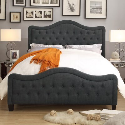 Turin Upholstered Panel Bed Color: Charcoal, Size: Queen