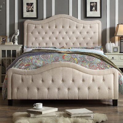 Turin Queen Upholstered Panel Bed Upholstery: Beige