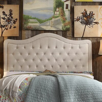 Turin Tufted Upholstered Panel Headboard Upholstery: Beige, Size: Full