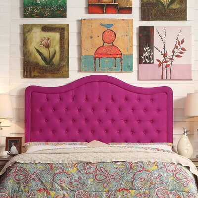 Turin Tufted Upholstered Panel Headboard Size: Queen, Upholstery: Magenta