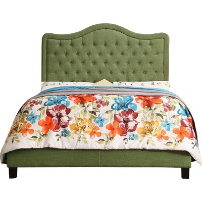 Turin Upholstered Panel Bed Upholstery Color: Natural Olive Green, Size: Twin