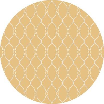 Schaefferstown Hand-Woven Gold Area Rug Rug Size: Round 8