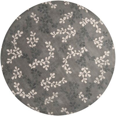 Fulkerson Vine Charcoal Gray Area Rug Rug Size: Round 8