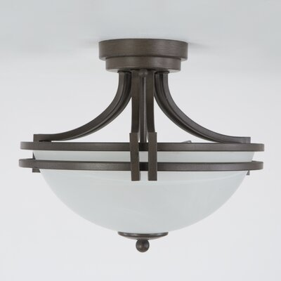 Savannah 2-Light Semi Flush Mount Finish: Dark Brown