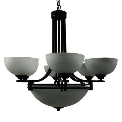 Joye 9-Light Shaded Chandelier Finish: Dark Brown