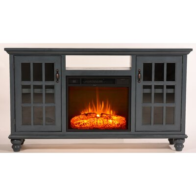 Blackwell Modern Country 65 TV Stand with Fireplace Color: Interesting Aqua
