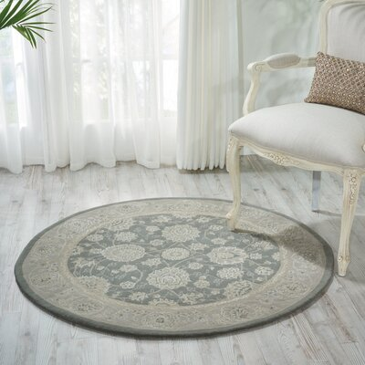 Morristown Hand Woven Wool Gray/Ivory Indoor Area Rug Rug Size: Round 4