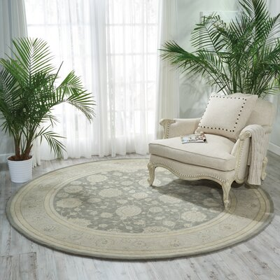 Morristown Hand Woven Wool Gray/Ivory Indoor Area Rug Rug Size: Round 8