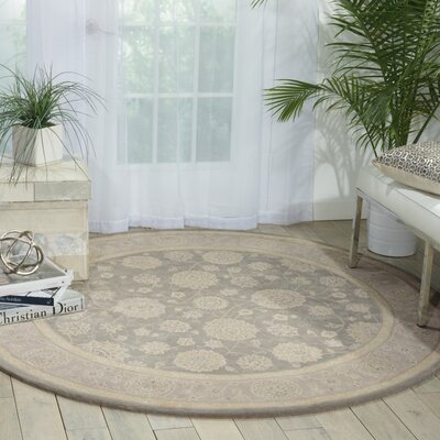 Morristown Hand-Tufted Gray/Ivory Area Rug Rug Size: Round 6