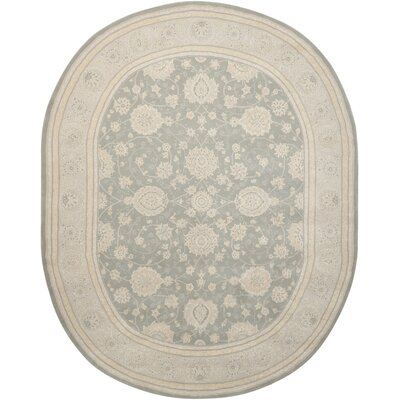 Morristown Hand Woven Wool Gray/Ivory Indoor Area Rug Rug Size: Oval 76 x 96