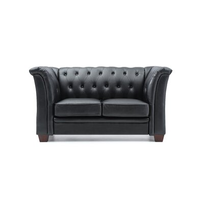 Tignor Tufted Chesterfield Loveseat Finish: Black