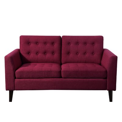 Starner Tufted Loveseat Upholstery: French Burgundy