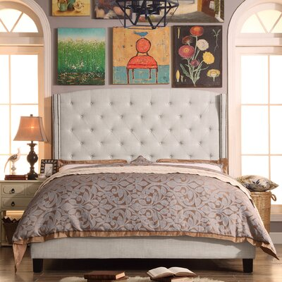 Destiny Upholstered Panel Bed Color: Beige, Size: King